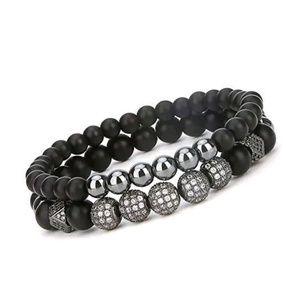 "New Charm Bracelet Black Matte Onyx Stone 7.5"""